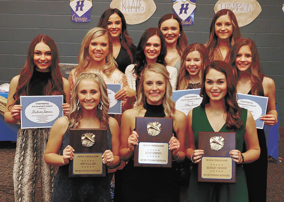 Huntingdon cheerleaders — Abby Ballard, Katie Simpson, Kensley Crossno, (second row) Madison Noonan, Tatum Nolen, Jenna MaGee, Abby Lewis, Jenna MaGee, (third row) Adyson Shands, Mattie-Claire Roberts, Lydia O'Bryant. Absent were Sadie Shands, Nevaeh Carruthers, and Katie Coleman.