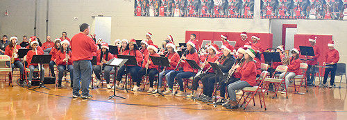 The McKenzie Middle School band performs.