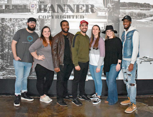 The worship team for the first services (L to R): Jeremy Allen, drums; Courtney Howell, vocals; Adrian Mastin, bass; Josh Middleton, vocals/guitar; Shelby Jackson, guitar; Megan Allen, vocals; and Lenn Brownlee II, keys. Overflow's rotating worship team includes a total of 19 musicians.
