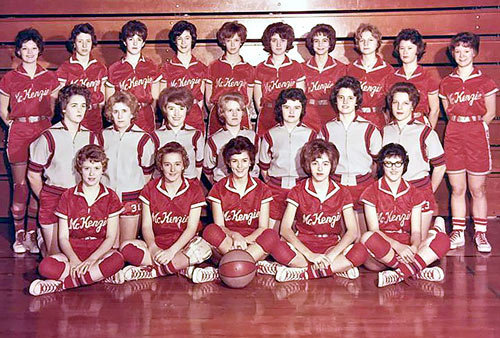"The 1963 McKenzie High School Rebelettes (L to R): Front Row — Mary Lou Smith, Regina ""Pete"" Russell, Barbara Cozart, Diane Stoner and Kay Brown; Second Row — Pam Garrett, Pam Collins, Patti Gaines, Vickie Fields, Suzie Cozart, Betsy Dinwiddie and Larenda Bradfield; Back Row — Charlotte Melton, Emily Scarbrough, Ann Carol McCaleb, Nancy Bateman, Kay King, Emily Young, Jane Hill, Joyce Moore, Judy Drewry and Judy Faust."