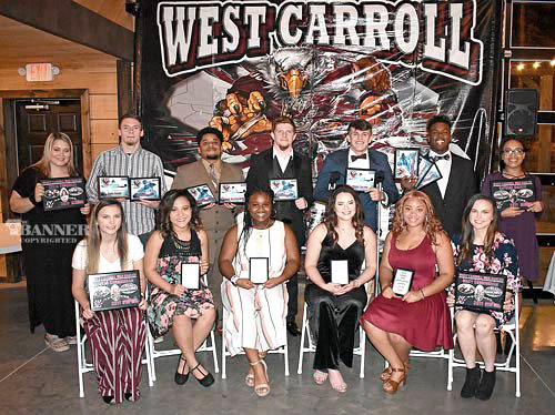 War Eagle football season seniors (L to R): Front Row — Gracie Cunningham, Asia Emerson, Shatara Brooks, Ashton Worrell, Ashley Myles and Macey Cunningham; Back Row — Celia Townsend, Zach Perry, Jarrius Weatherford, Wyatt Baker, Bryce Bolton, Jeremiah Bryant and Sathina Gaskin. Not pictured are Aleisha Annis and Kamryn Hillsman.