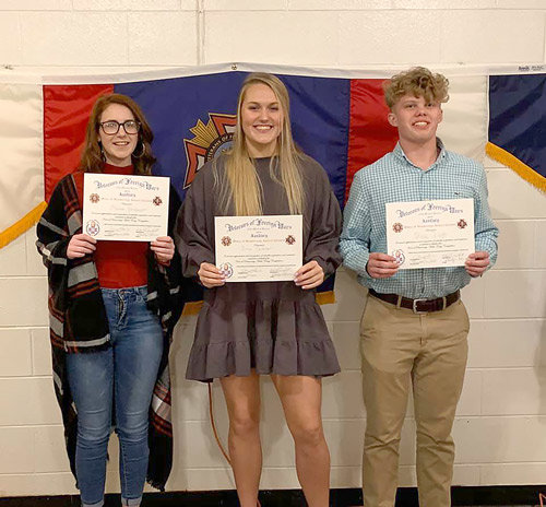 Winners of McKenzie VFW Post 4939's Voice of Democracy speech contest (L to R): Second Place — Olivia Henderson; First Place — Anna Callahan; Third Place — Chase Webb.