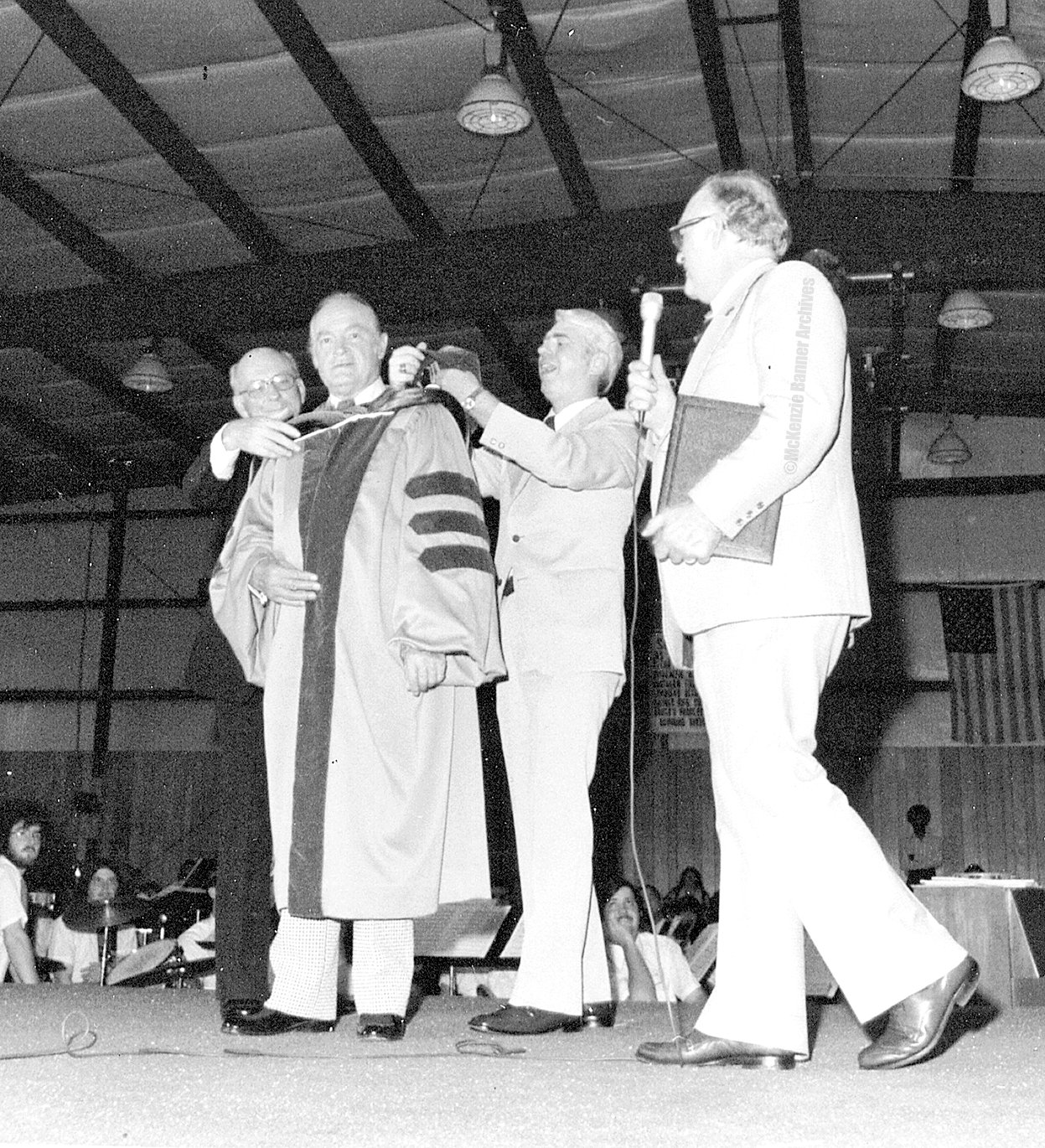 Bob Hope came to Bethel in May of 1975 to help raise money and support for the College. Pictured (L to R): Dr. Raymon Burroughs, Bob Hope, Rev. Jack Barker and Dr. Fred Bryson.