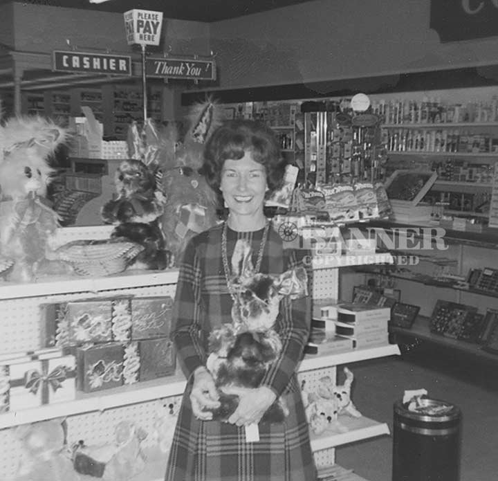 Robye Lindsey setting up the Easter displays in 1971.