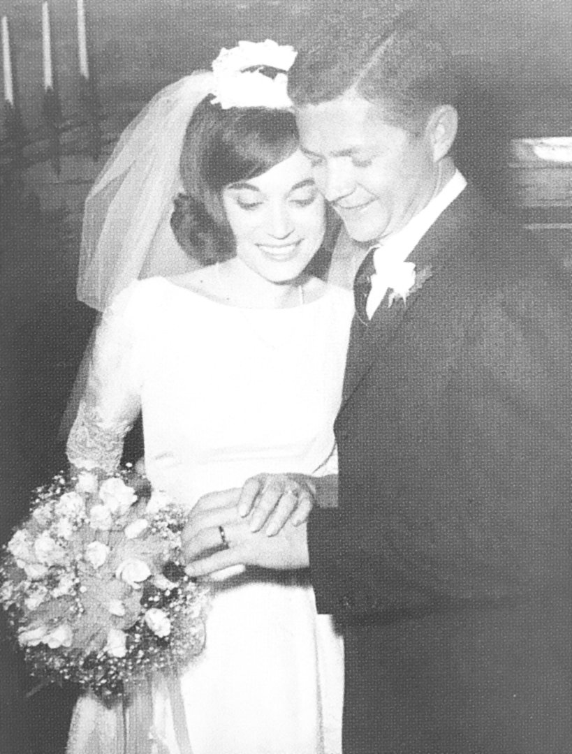 Ray and Linda Morris were married November 18, 1967, in an ornate European style log cabin.