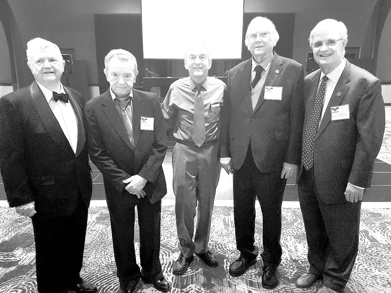 (Pictured L to R)  Ray Morris, president and founder of Venture Construction Company and McKenzie High School Class of 1955; Charlie Cox, MHS Class of 1954; McKenzie native and Duke Medical School graduate, Dr. Lewis Holmes; Dr. Ed Perkins, Bethel University Board of Trustees and Walter Butler, President of Bethel University.