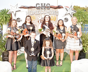 Gleason High School Homecoming Court (L to R): Front Row — Trophy Bearer Blaize Burnine and Flower Girl Alice Green; Back Row — Freshman Maid Brooklyn McDowell, Junior Maid Gracie Long, Queen Haley Clark, Senior Maid Lexia Snider and Sophomore Maid Tinsley Parkins.