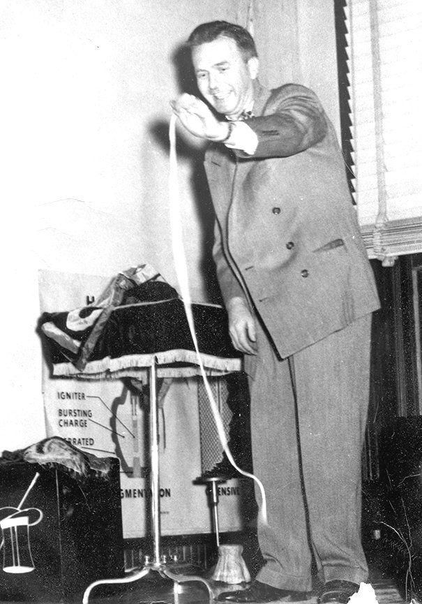 McKenzie Businessman and Magician, Red Summers is pictured in the early 1950s. The greatest magic trick of his career attracted one of the largest crowds in McKenzie at that time.