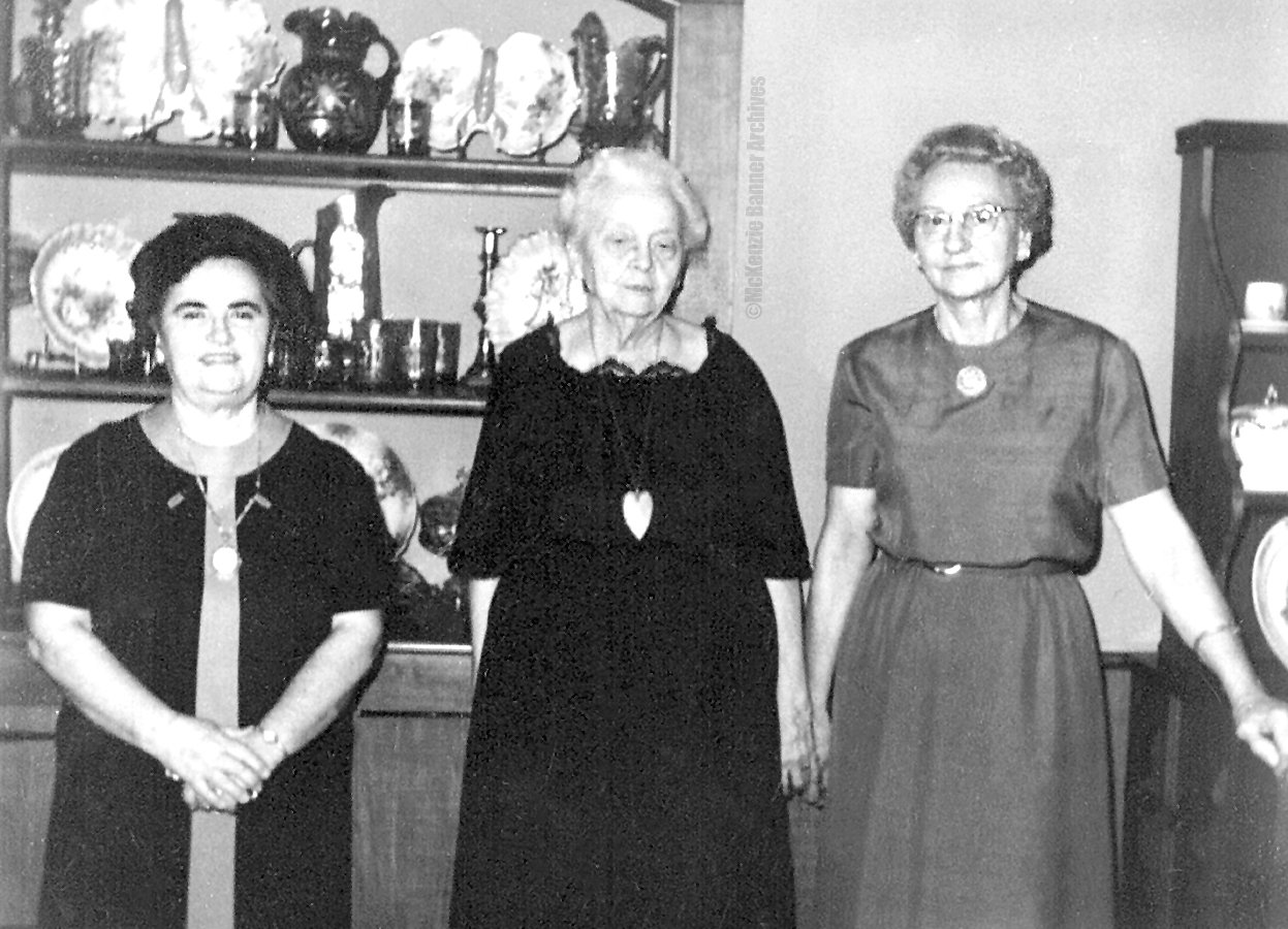 McKenzie Garden Club, 1960s, at Snead Home. Pictured are (L to R): Dathel Snead, Mary Stewart and Lola Thomas.