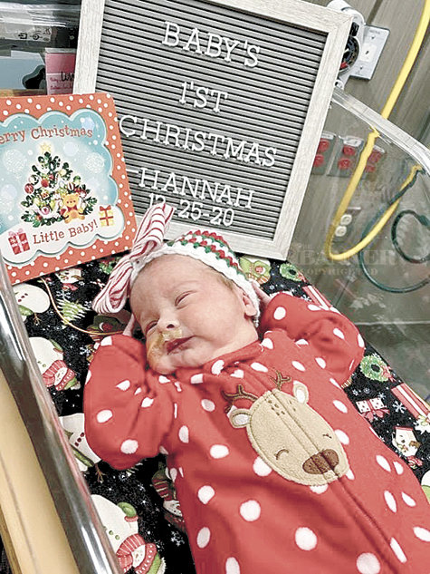 Hannah's first Christmas. She was born December 16 and left the hospital on December 30.