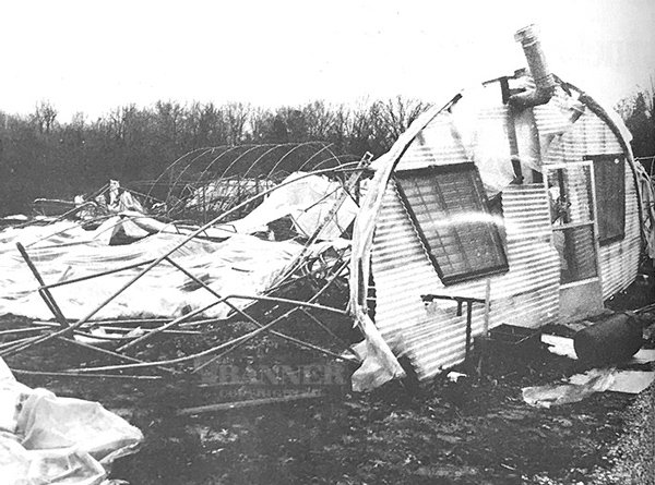 Greenhouses of Trent Johnson were completely destroyed by the tornado.