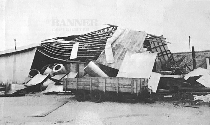A collapsed storage building located on the Gaines Manufacturing Company property.