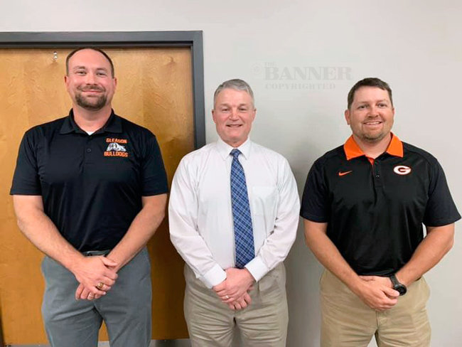 Gleason Principal Lee Lawrence, former coach Randy Frazier, and School Board Member Beau Atkins of Gleason.