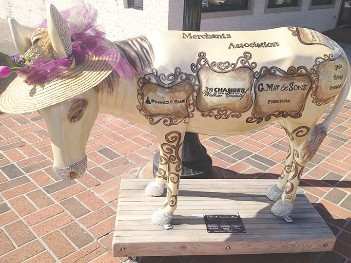 Jewel, one of the original 50 mules from the Walker County Arts Alliance's public art project, was destroyed by a truck on Nov. 14.
