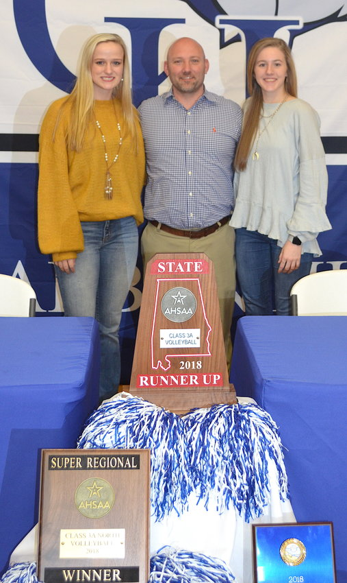 Carbon Hill's Lacey Evans, left, and Abby Martin, right, signed with the Mississippi University for Women on Monday. The duo played for coach Saige Beaty for four years.