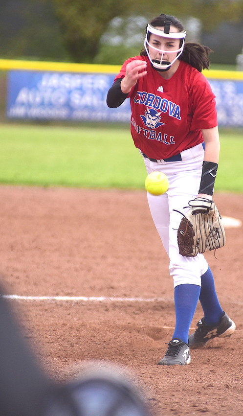 Cordova's Raven Clark throws a pitch against Hueytown during their game on Saturday afternoon. The Blue Devils took second place in the Bevill State Invitational.
