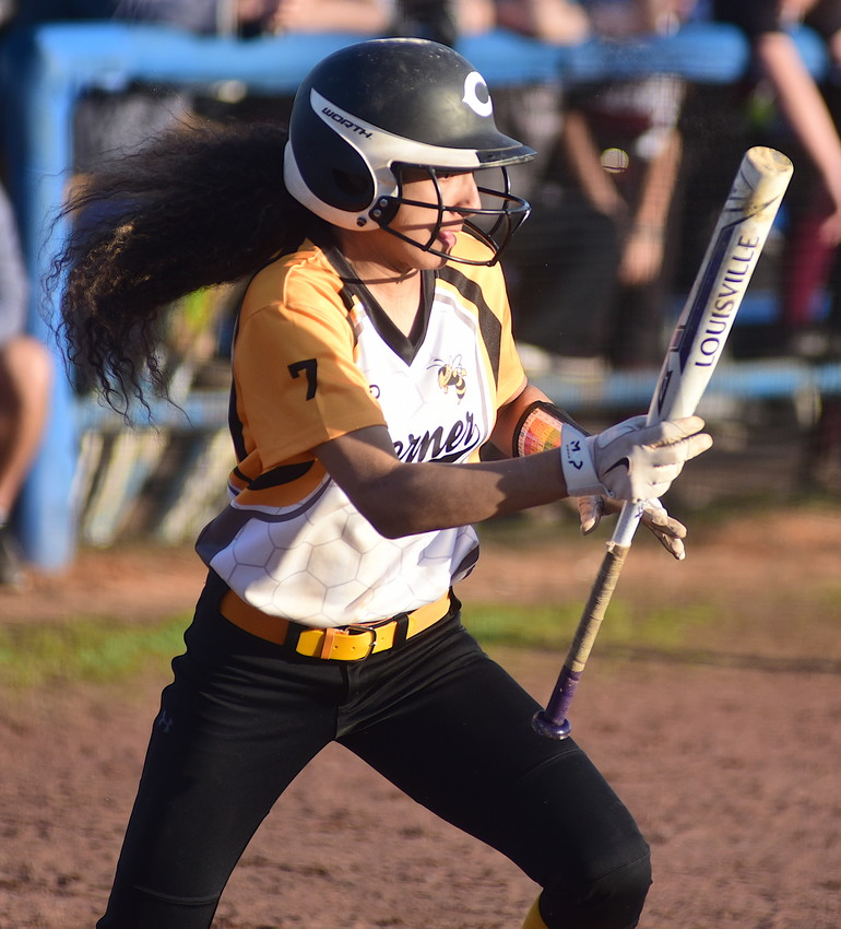A Corner batter heads to first after a bunt against Fayette County. The Yellow Jackets won the Smith Lake Classic at Curry High School on Saturday.