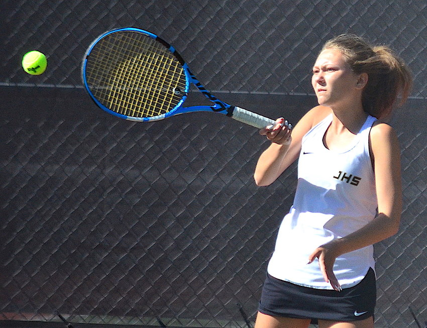 Jasper's Lillian Griffin hits a forehand during her No. 4 singles match at the Class 4A-5A Section Tournament at Gardendale on Monday.Jasper won the tournament, earning a spot in next week's State Tennis Tournament in Mobile.