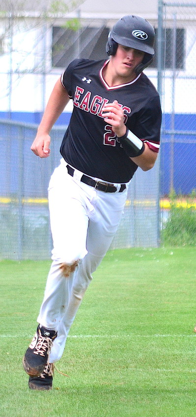 Sumiton Christian's Joe Hicks heads for home after belting a home run during a first-round playoff series against Ohatchee this season.
