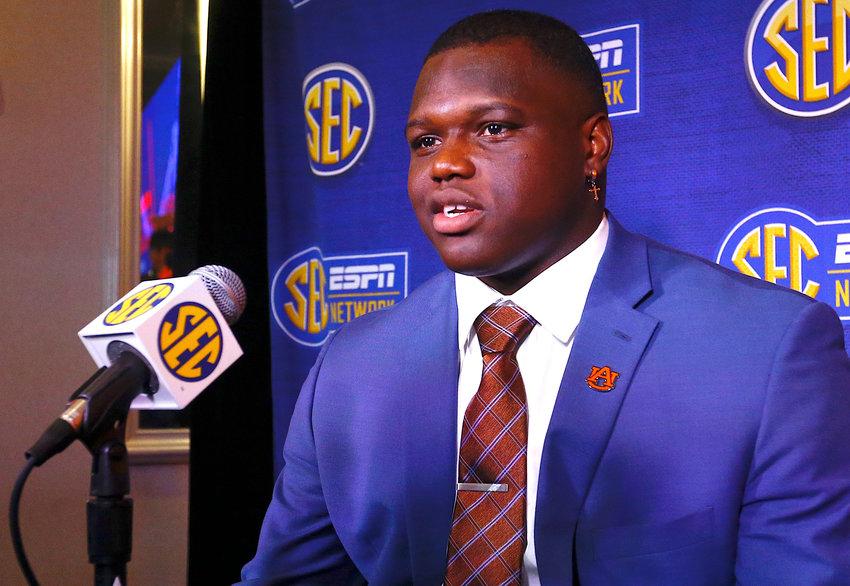 Auburn defensive end Marlon Davidson speaks to reporters during SEC Media Days, Thursday in Hoover.