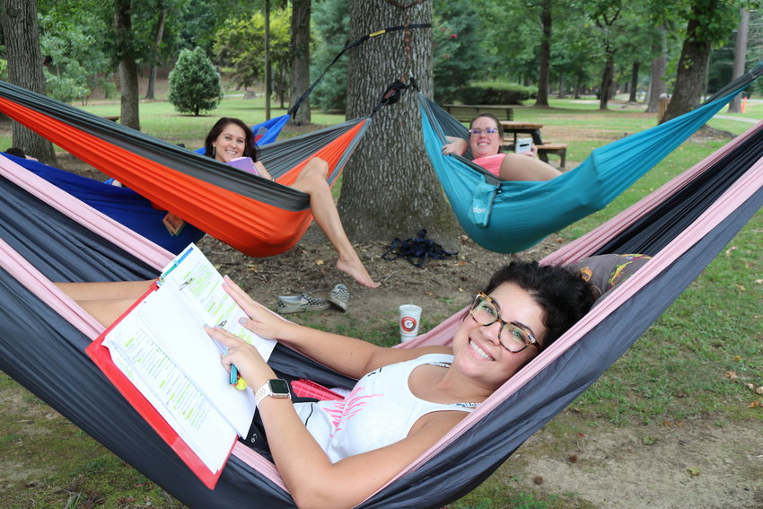 """Three Bevill State nursing students were gaining out in Gamble Park on Tuesday. Bridgette Jenkins, Crystal Cagle, and Ashley Bailey were studying for an upcoming forth semester nursing school final. """"This is our ticket out,"""" Jenkins said."""
