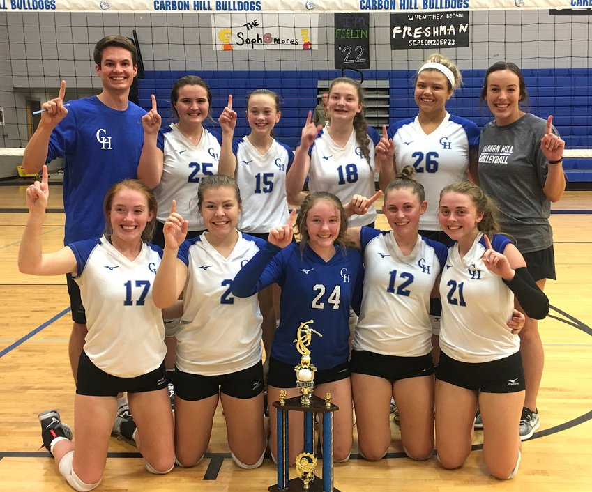 The Carbon Hill High School varsity volleyball team won the Bulldog Invitational at home on Saturday, defeating Lincoln 25-14, 25-23 in the championship match.