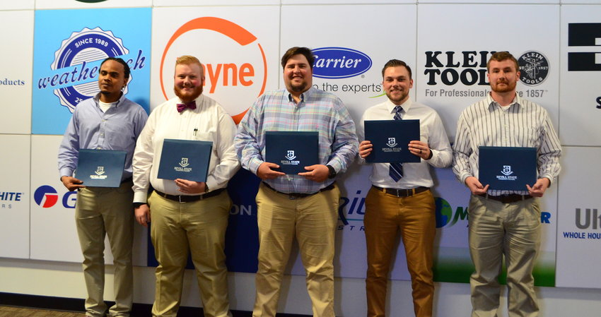 From left to right, Michael Grove, Kolby Russell, John Nolan, Jamie Martin and Clifton McDaniel graduated from the Bevill State/Alabama Power HVAC Boot Camp on Wednesday.