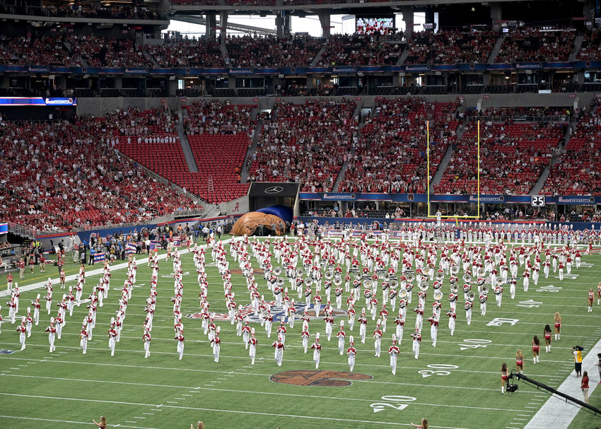 The University of Alabama Million Dollar Band performs prior to the start of the 2019 Chick-fil-A Kickoff Game between the Duke Blue Devils and the Alabama Crimson Tide Saturday, Aug. 31, 2019, at Mercedes-Benz Stadium in Atlanta, Ga. Alabama wins 42-3.
