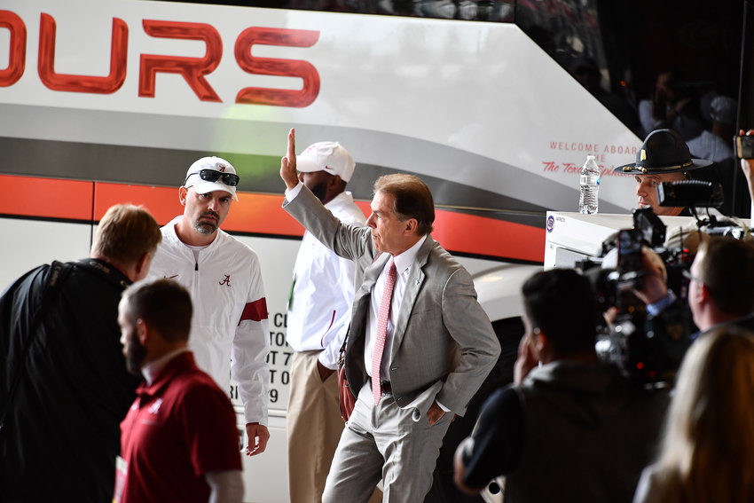 Alabama Crimson Tide head coach Nick Saban arrives at Kyle Field and waves to fans prior to an NCAA football game between Alabama and the Texas A&M Aggies Saturday, Oct. 12, 2019, at Kyle Field in College Station, Texas.