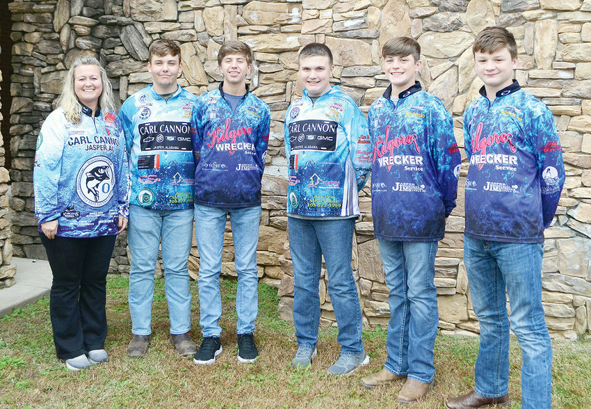Pictured, from left to right is Oakman Middle School fishing team sponsor Jessica Thompson and anglers Peyton McLemore, Brodey Hartley, Cooper Nichols, Luke Martin and Eli Kilgore.