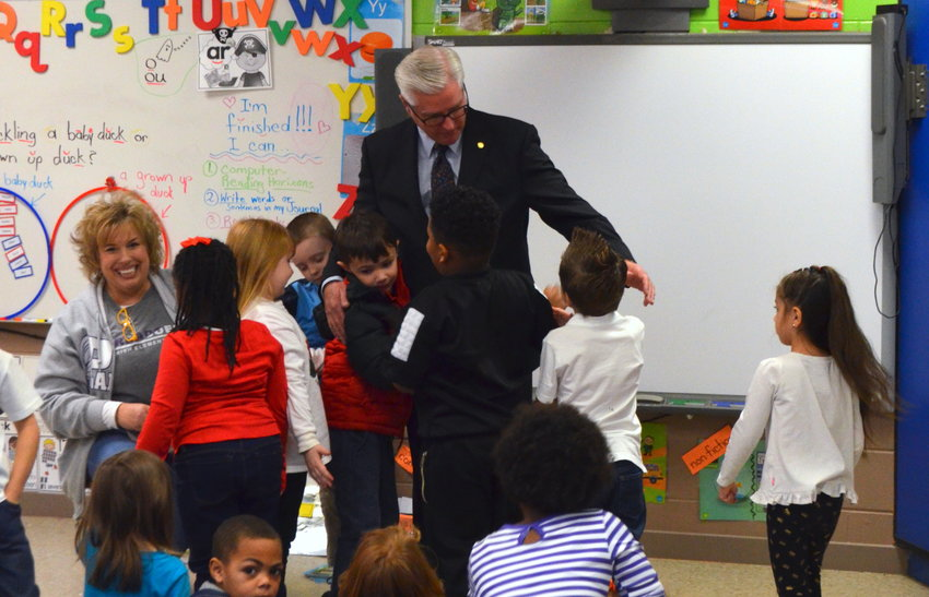 Students at Parrish Elementary School had some special visitors on Nov. 21. Sen. Greg Reed, R-Jasper, Walker County Schools Superintendent Dr. Joel Hagood and Walker County Schools Assistant Superintendent Dr. Dennis Willingham visited classrooms at the school, prior to a pre-Thanksgiving meal.