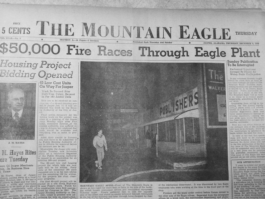 A fire at the Mountain Eagle office was the top story on Dec. 8, 1949. A new, faster printing press was destroyed in the fire.