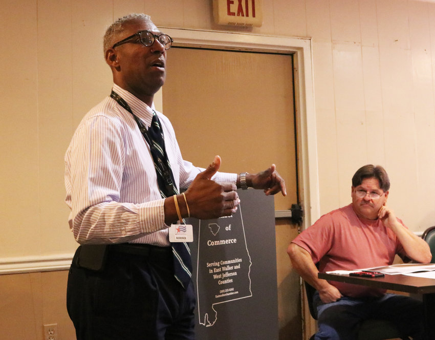 Roderick Royal from the U.S. Department of Labor's Career Center in Birmingham was the guest speaker at the monthly East Walker Chamber of Commerce meeting on Tuesday.