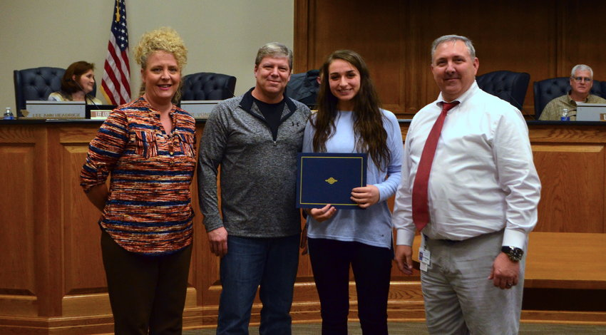 Curry High School student Laycee Cordell, second from right, was recently named a WBRC Fox6 News Rising Star and was recognized by the Walker County BOE for her accomplishment. Also pictured is Curry High counselor Kristi Cain, Walker County BOE member Trent Kennedy and Curry High Principal Eric Woodley.