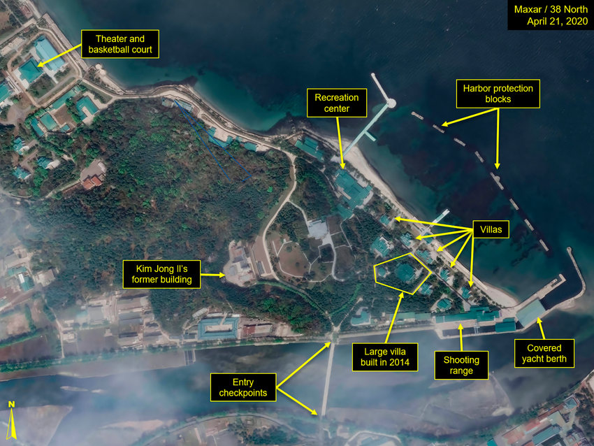 This Tuesday, April 21, 2020, satellite image provided by Maxar Technologies and annotated by 38 North, a website specializing in North Korea studies, shows overview of Wonsan complex in Wonsan, North Korea. Recent satellite photos show a train probably belonging to North Korean leader Kim Jong Un has been spotted on the country's east coast amid mounting speculation about his health.(Maxar Technologies via AP)