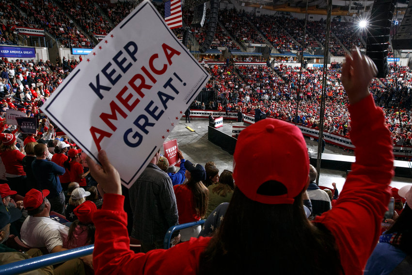 Supporters of President Donald Trump cheer as he speaks during a campaign rally in North Charleston, S.C., Friday Feb. 28, 2020. (AP Photo/Jacquelyn Martin)