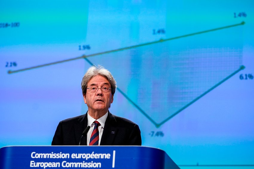 """European Commissioner for the Economy Paolo Gentiloni speaks during a media conference on the economy at EU headquarters in Brussels, Wednesday, May 6, 2020. The European Union predicted Wednesday """"a recession of historic proportions this year"""" due to the impact of the coronavirus with a drop in output of more than 7 percent, as it released its first official forecast of the damage the pandemic is inflicting on the bloc's economy. (Kenzo Tribouillard, Pool Photo via AP)"""