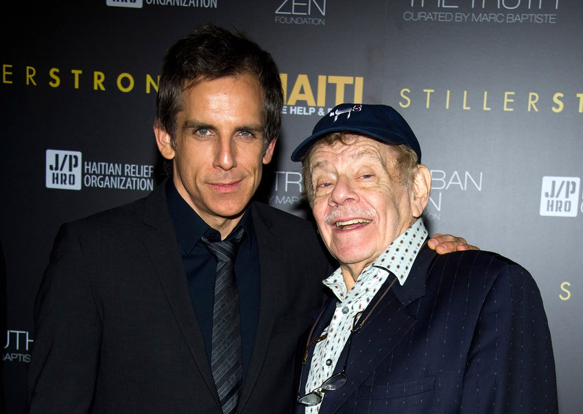 Ben Stiller, left, and his father Jerry Stiller arrive at the Help Haiti benefit honoring Sean Penn hosted by the Stiller Foundation and The J/P Haitian Relief Organization, in New York, Friday, Feb. 11, 2011. (AP Photo/Charles Sykes)