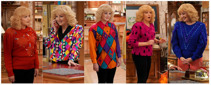 "This combination of photos released by ABC shows McLendon-Covey as Beverly Goldberg in scenes from the comedy series ""The Goldbergs.""  Costume designer Keri Smith creates the signature looks for the fictional Beverly. (ABC via AP)"