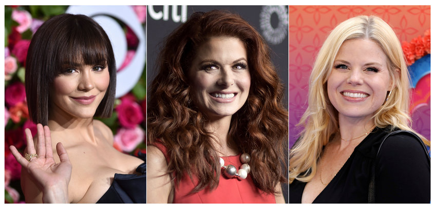 "This combination of photos shows, from left, Katharine McPhee, Debra Messing and Megan Hilty, who will reunite May 20 to present a stream of the one-night-only 2015 Broadway concert of the musical within the TV show ""Smash."" In the series, Hilty and McPhee played feuding actresses hoping to play Marilyn Monroe. (AP Photo)"