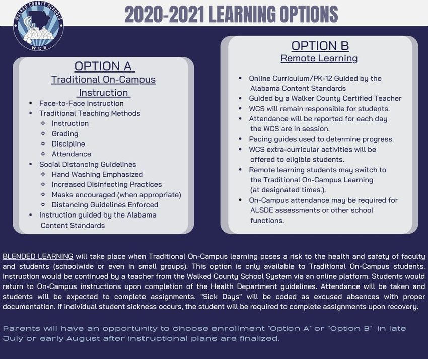 This graphic details learning options that will be available to county schools' students during the 2020-21 school year.