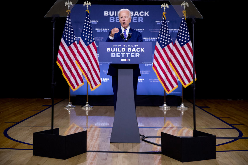 "Democratic presidential candidate former Vice President Joe Biden speaks at a campaign event at the William ""Hicks"" Anderson Community Center in Wilmington, Del., Tuesday, July 28, 2020.(AP Photo/Andrew Harnik)"