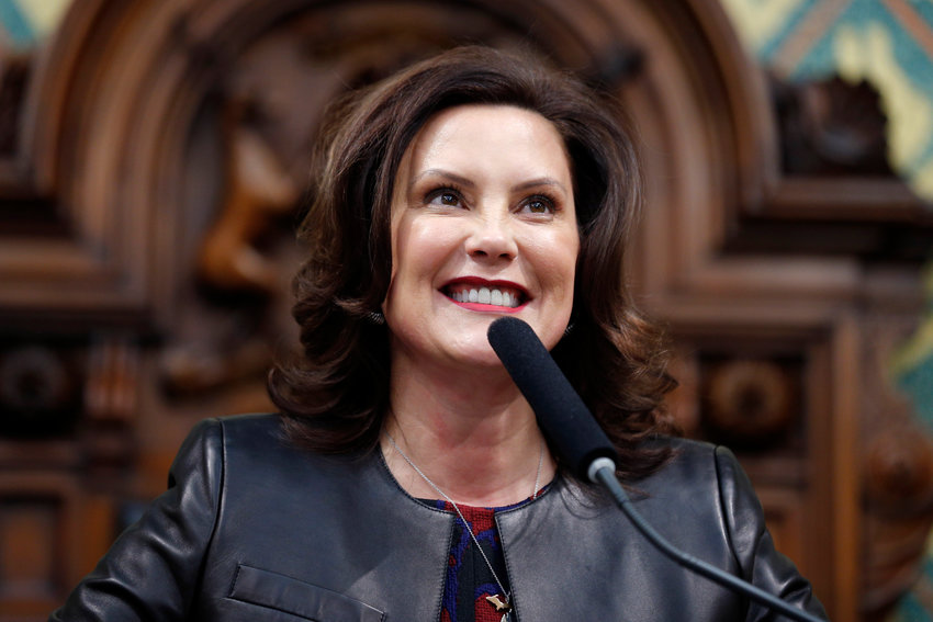 In this Jan. 29, 2020, file photo, Michigan Gov. Gretchen Whitmer delivers her State of the State address to a joint session of the House and Senate, at the state Capitol in Lansing, Mich. Senate Republicans on Thursday, Feb. 13, 2020, blocked Democrat Whitmer's appointee to the state commission that regulates hunting and fishing, which Democrats said was payback because Whitmer refused to pull a separate nominee who is opposed by gun-rights groups. The GOP-led Senate's 20-16 vote to reject Anna Mitterling of Mason for a spot on the Natural Resources Commission marked the first time in nearly a decade that the chamber officially rejected a governor's nominee. (AP Photo/Al Goldis, File)