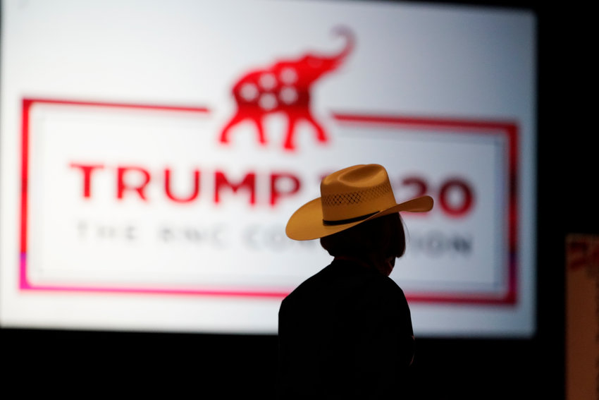 The room is set and delegates begin to arrive for the first day of the Republican National Convention, Monday, Aug. 24, 2020, in Charlotte, N.C. (AP Photo/Chris Carlson)