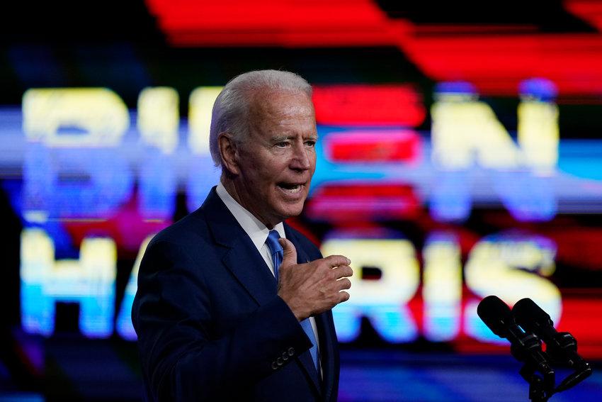 Democratic presidential candidate former Vice President Joe Biden, speaks in Wilmington, Del., Wednesday, Sept. 2, 2020, about school reopenings. (AP Photo/Carolyn Kaster).