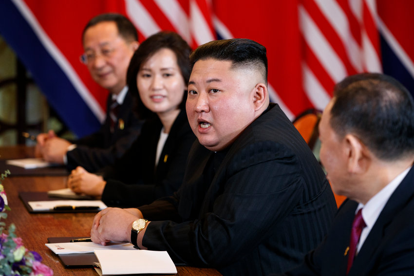 FILE - In this Feb. 28, 2019 file photo, North Korean leader Kim Jong Un answers a question from reporters during a meeting with President Donald Trump in Hanoi. One important thing the North gets from the United Nations is a direct point of contact with the 192 other member nations, including a host of countries that would be loath to send their diplomats to pay homage in Pyongyang, pre-eminent among them, the United States. (AP Photo/ Evan Vucci, File)