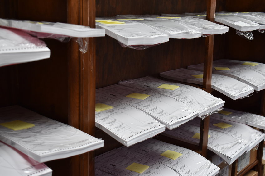 Hundreds of applications for absentee ballots, like the different ballot versions stored here at the Walker County Circuit Clerk's Office, have been received already, more than a month before the Nov. 3 General Election.