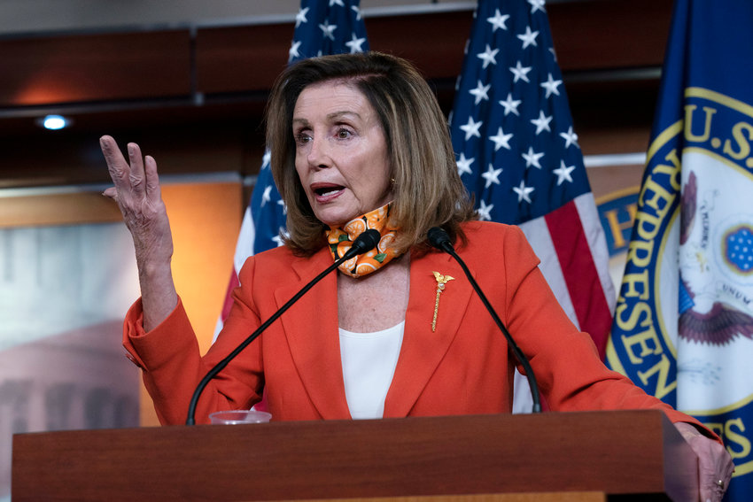 Speaker of the House Nancy Pelosi, D-Calif. speaks during a news conference Thursday, Sept. 24, 2020. (AP Photo/Jose Luis Magana)