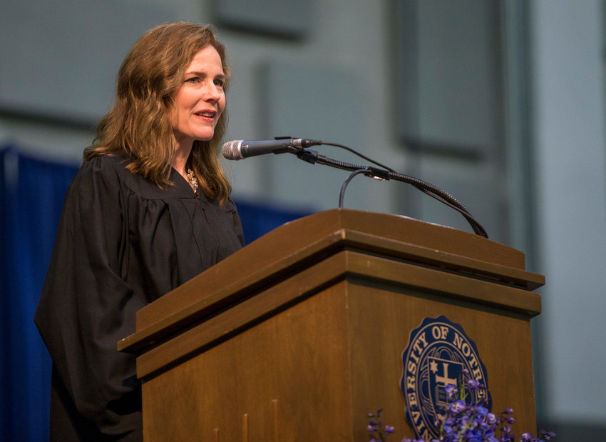 Amy Coney Barrett, United States Court of Appeals for the Seventh Circuit judge, speaks during the University of Notre Dame's Law School commencement ceremony on Saturday, May 19, 2018, at the University of Notre Dame in South Bend, Ind. (Robert Franklin/University of Notre Dame via AP)