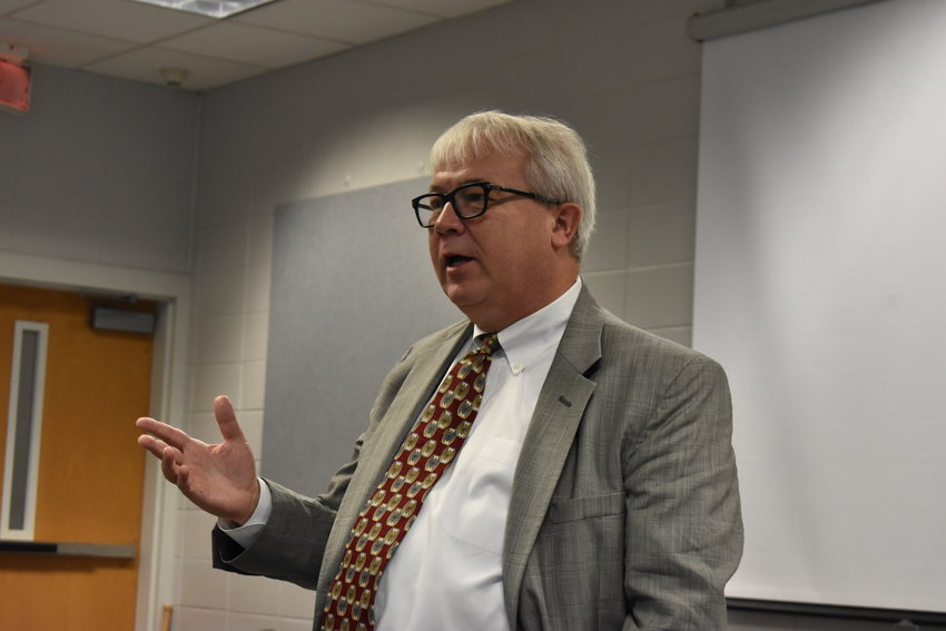 Former state Rep. Jack Williams, who since February has been the government relations manager and major gifts officer for Alabama Public Television, spoke Monday in Jasper as he accepted a $7,600 grant on behalf of APT for career tech opportunities for Walker and Chilton counties.